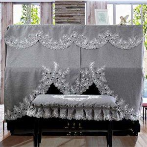 MELLRO Piano Vertical Couverture 148-153cm Universal Gris Piano Dentelle brodée à la Machine Couverture Serviette Tissu Art Plus Pleuche Décorée (Color : A, Size : L)