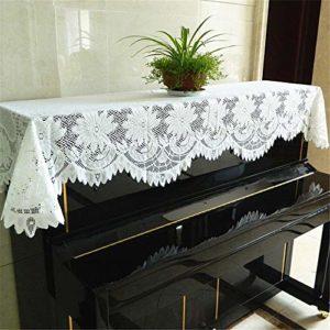 MELLRO Piano Vertical Couverture Piano Piano Simple antipoussière Clean Piano Dentelle 75x185cm Blanc Universel Tissu Art Plus Pleuche Décorée (Color : A, Size : Free Size)