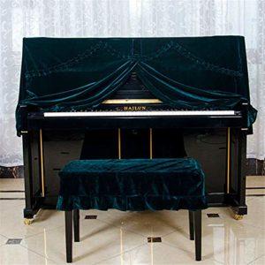 MELLRO Piano Vertical Couverture Simple Piano Propre 148-153cm d'or épais Universal Velvet antipoussière Piano Velvet Cover Tissu Art Plus Pleuche Décorée (Color : A, Size : L)