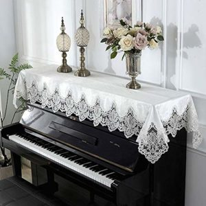 YAzNdom Housse pour Piano Droit Piano Serviette en Tissu Antipoussière Style Européen for Verticale Standard Pianos Classique Piano Broderie Half Couverture Cadeaux pour Les Amis Et La Famille