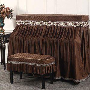 YAzNdom Housse pour Piano Droit Tissu décoratif for Verticale Standard Pianos Piano Dust Cover avec des couvertures Bench Cadeaux pour Les Amis Et La Famille (Color : Coffee, Size : 78x38cm)