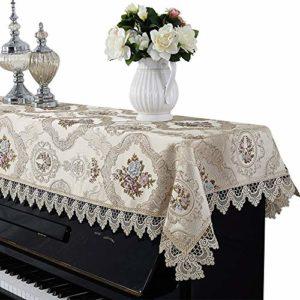 YAzNdom Housse pour Piano Droit Universal Antipoussière Demi-Couverture Serviette De Piano Standard Verticale Pianos De Style Européen Dentelle Couverture Piano Cadeaux pour Les Amis Et La Famille