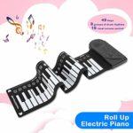 49 Touches Roll Up Piano, Piano Numérique à Clavier Électronique Souple Pliable Portable, Haut-parleur Intégré, 16 Sons, 10 Rythmes, Piano d'Entraînement pour Enfants, Débutant