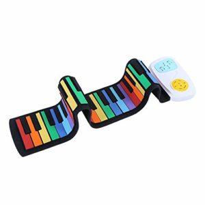 49 touches Roll Up Piano, Version arc-en-ciel portable Colrful Roll Up Piano Piano électronique USB, Clavier d'entrée pour enfants Fun Silicone Piano Instrument de musique Hand Roll Piano