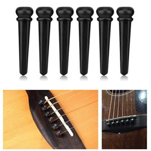6pcs/set broches de pont en ébène avec coquille d'ormeau pour guitare folk acoustique