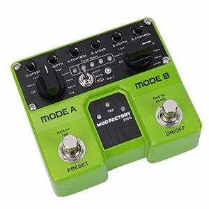 Accélération de l'effet ACCEL Effet de guitare électrique, 2 pédales d'effet de modulation de traitement indépendantes, vitesse de réglage TAP pour les professionnels de l'instrument