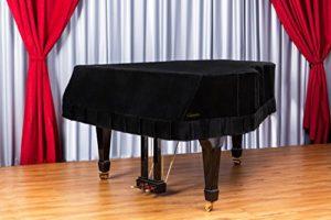 Clairevoire Grandeur: Couverture Grand Piano en Velours Classique Prémium pour Yamaha C3 / C3X / DC3 / G3 / CN186PE [186cm | 6 Pieds 1 pouce] [Noir nuit]