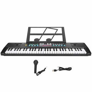 Clavier électronique pour enfants, clavier électronique avec microphone, 8 percussions 61 touches pour les débutants(USB power supply universal)