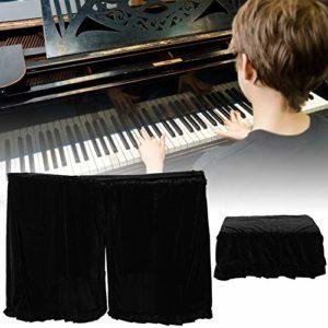 Denkerm Housse de Piano Verticale décorative en macramé Anti-poussière Noir décorative, Housse de Protection complète pour Piano, pour protéger Le Piano de décoration de Piano