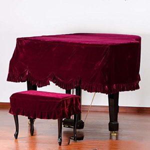 Dhm Couverture de Piano à Queue Rouge Couverture de Piano Velours Cache-poussière plissé (Color : Piano Cover+S-Stool Cover, Size : 200cm)