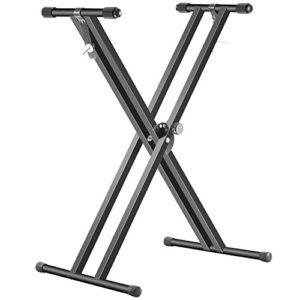 Neewer® Double Supports X-Style Stand Clavier Noir Pliant Fer Solide avec Verrouillage Sangles et 5 PositionS de disque d'embrayage pour Hauteur et Largeur Réglage Facile