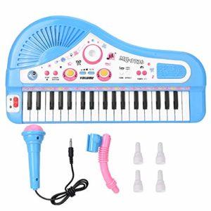 ROSEBEAR Jouet Éducatif pour Enfants Instrument de Piano Électrique à 37 Clavier avec Microphone pour Enfants. (Bleu)