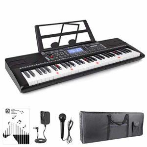 Vangoa Clavier de piano électronique à 61 touches avec touches lumineuses, 3 modes d'enseignement, 500 timbres, 300 rythmes, 40 démos, 61 percussions, microphone, Noir