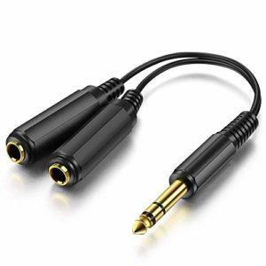 1/10,2cm 6,35mm Fiche stéréo/jack vers double 6,35mm 1/10,2cm mâle/femelle Splitter câble adaptateur convertisseur 30cm