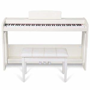 88 Débutant Touche Clavier Piano Piano Numérique avec Piano Électrique, 140 Sons, 128 Rythmes, Trois Pédales avec Banc