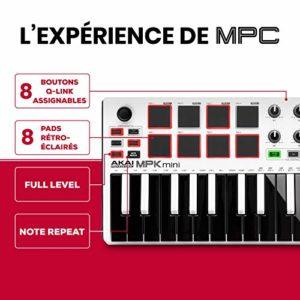 AKAI Professional MPK Mini MKII LE Blanc – Clavier Maître MIDI/USB 25 Touches Sensibles à la Vélocité avec 8 Pads et Joystick 4 Voies + VIP 3 et Pack de Logiciels Inclus