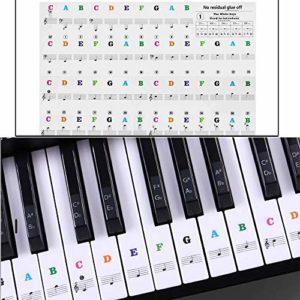 Autocollants pour piano et piano amovibles, transparents, boutons de piano, autocollants pour piano et clavier avec 37/49/54/61/88 Key Piano (blanc et noir) 28 x 23,5 x 0,3 cm Couleur