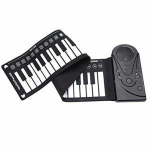 Bolange 49 Touches Piano Claviers Electronique Flexible Piano Silicone Rouleau Pliant pour Enfants Haut-Parleur intégré Noir