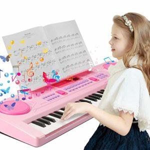 Clavier de piano pour enfants 61 touches multifonctions, clavier de piano portable, instrument de musique rechargeable pour enfants et enfants avec support Rose