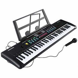 Clavier Piano 61 Touches Clavier Portable avec Enceintes Intégrées, Micro
