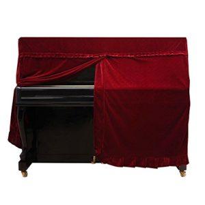 Dilwe Couverture de Piano Droit, Housse de Piano Droit Housse de protectuion en Velours d'or Accessoire de Piano(Red)