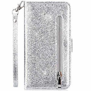 Hpory Case Cover Compatible avec Samsung Galaxy S8 Glitter Coque à Rabat Portefeuille Etui en Cuir Femme Fille Zipper Brillant Bling Wallet Case Magnetic avec Fonction Stand,Argent