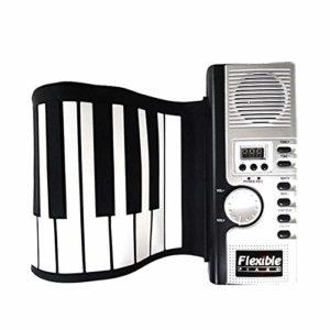 Lzcaure Roll Up Piano Fille et garçon Cadeau en Silicone Souple Clavier électronique Portable Piano Flexible Pliable Roll Up (61 Touches) avec la Batterie au Lithium Enfant Adulte Jouet