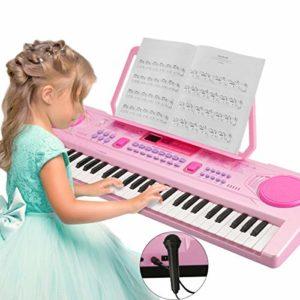 Magicfun Piano Numérique, Enfants Piano 61 Touches Portable Musique Clavier Électronique Inclus Microphone Pupitre pour Débutant Enfants Garçon Filles Cadeau (Rose)