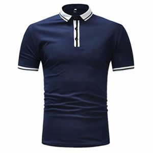 Polo Homme Ete, Manadlian Chemise Manches Courtes Shirt T-Shirt Haut Couleur Unie Décontracté Hommes Sport Coton sans Manches Chemisier