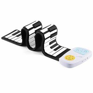 Roll Up Piano Numérique Roll Up Keyboard Piano 49 Touches standard pliables et flexibles Silicium souple électrique for les enfants avec 8 sons 6 morceaux de démonstration Enregistrement Jouer Echo Su
