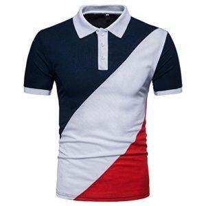 T-Shirt à Manches Courtes,Covermason Homme Polo T-Shirt à Manche Courte Chemise Shirt Casual Classique Slim Patchwork T-Shirt Top Chemisier