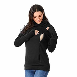 T-Shirt de Maternité Femme, Manadlian Sweat à Capuche d'allaitement maternité pour Femmes Sweat Kangaroo Tunique à Manches Longues Tops Pullover Chemise