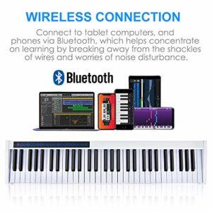 Vangoa Clavier de Piano 61 touches Portatif Clavier électronique Bluetooth Sensible au Toucher, Rechargeable, Blanc