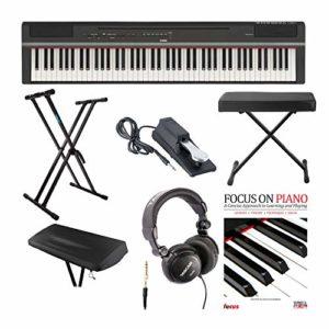 YAMAHA P-125B Pédale de piano numérique 88 touches (GHS) avec Knox Double X Stand Knox Wide Bench Sustain Pedal Cover Casque et FastTrack Book et DVD