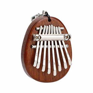 ABMBERTK 8 Touches Mini Piano à Pouce Kalimba, avec Pendentif lanière, Instrument à Clavier Mini Doigt, Cadeau en Bois Massif, MX0161D
