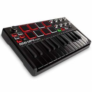 AKAI Professional MPK Mini MKII LE Black – Clavier Maître MIDI/USB 25 Touches Sensibles à la Vélocité, 8 Pads, 8 Potentiomètres et Joystick, 4 Voies + Pack de Logiciels Inclus – Édition Limitée Noir