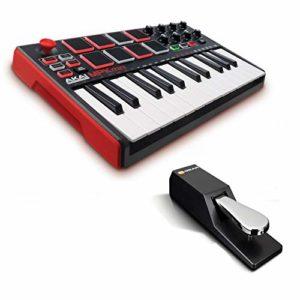 AKAI Professional MPK Mini MKII + M-Audio SP-2 – Clavier Maître MIDI USB 25 Touches Sensibles à la Vélocité, Pads et Joystick et Pack de Logiciels inclus + Pédale de Sustain Universelle de Type Piano