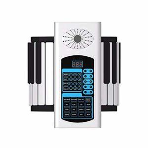 KKTECT 88 Keys Roll Up Piano Clavier numérique pliable Clavier MIDI avec 80 modèles de musique 140 Timbre 128 Rythme Dispose d'un haut-parleur intégré et prend en charge des écouteurs externes (blanc)